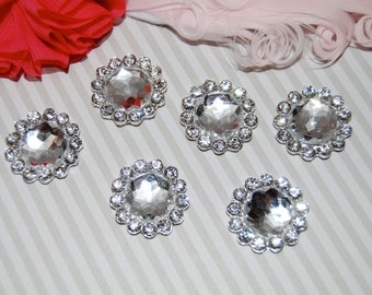 6 rhinestone button Crystal  flower centers buttons flat back  22mm size  - silver rhinestone embellishment  accent metal component RB11