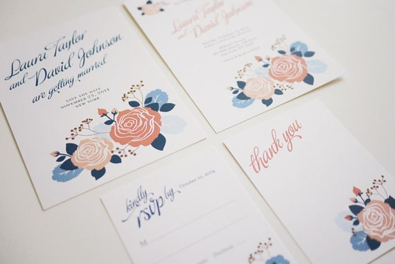 Blue and Pink Rose Printable Wedding Invitation Set