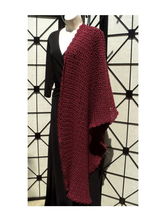 Mobius cowl, Neck Scarf and Shawl - Simple Elegance CROCHET PATTERN ONLY - 3 Patterns in 1 -  red worsted view