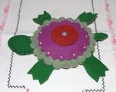 Handmade Stuffed Toy Turtle Small Wool Felt Hand Embroidery