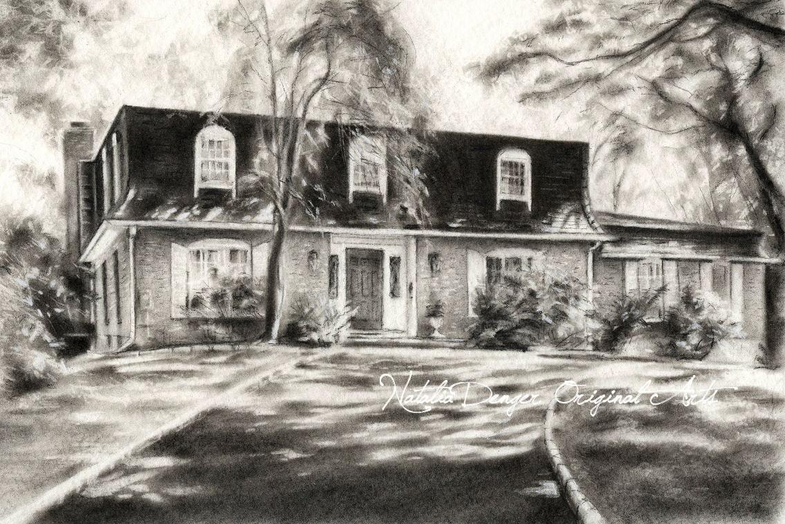 custom house drawing charcoal landscape housewarming gift