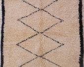 natural white virgin wool moroccan rug BENI OUARAIN berber carpet