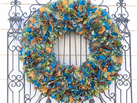 Plush, Large Autumn/ Fall/ Year Round Fabric Wreath - ONLY 1 AVAILABLE