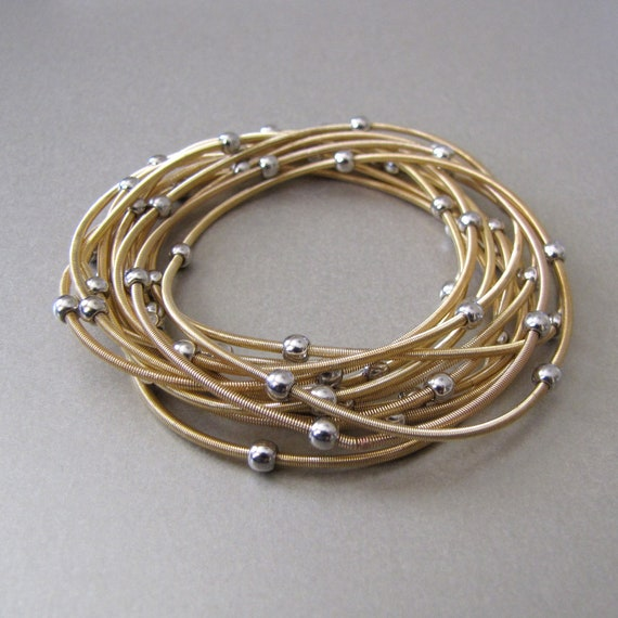 Gold Coil Bracelet with Silver Beads - Set of 12