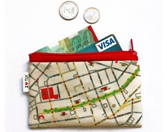 Map Wallet of Tel Aviv , cute coin purse - a souvenir from Tel Aviv Israel, coin pouch with red zipper - free shipping