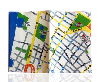 Fabric passport cover with New York map printed passport holder souvenir from NYC