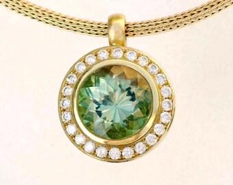 Tourmaline pendant, diamond halo, fine jewelry, metalwork, 14K yellow gold (center stone and chain sold separately)