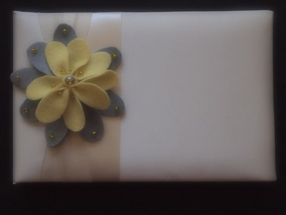 Guest Book Ivory Pastel Yellow Light Gray