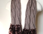 Taupe Scarf // Cowl // Neckwarmer // Long scarf //  Knit scarf  // Winter accessories