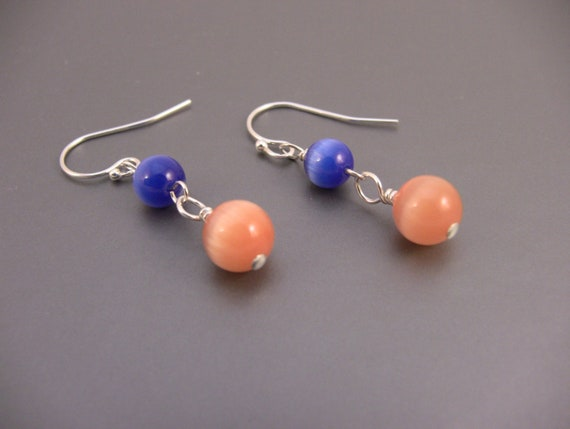 Sterling Silver Blue and Orange Bead Cat's Eye Dangle Earrings
