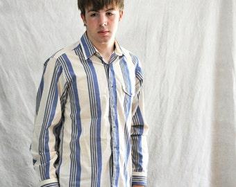 Mens Shirt Vintage 1980's Long Sleeve Vertical Striped Denim Blue Cream Medium Womens Large Shirt
