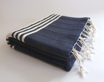 Christmas gift , TURKISH BATH TOWEL,  Eco-friendly Peshtemal, Natural Soft Cotton, Beach, Spa, Yoga Towel, dads & grads, mothers,  Navy,