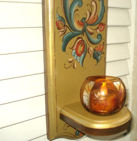 Fancy Gold Rosemaled Candle Sconce with amber glass votive cup and electric votive candle
