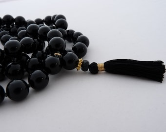 Onyx 108 knotted black mala - 12mm - handknotted by sphalie