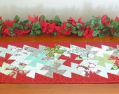 Christmas quilted table runner or wall hanging in red, green, aqua and grey cotton