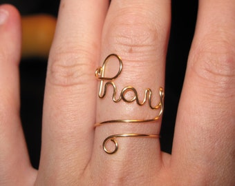 Wire Wrapped PRAY Spelled Adjustable Ring