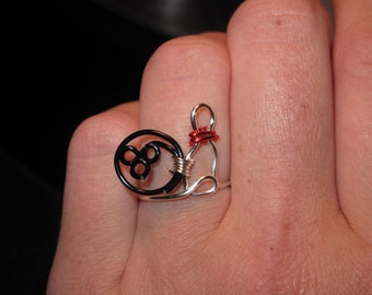 Wire Wrapped Bowling Pin And Bowling Ball MADE to ORDER Ring