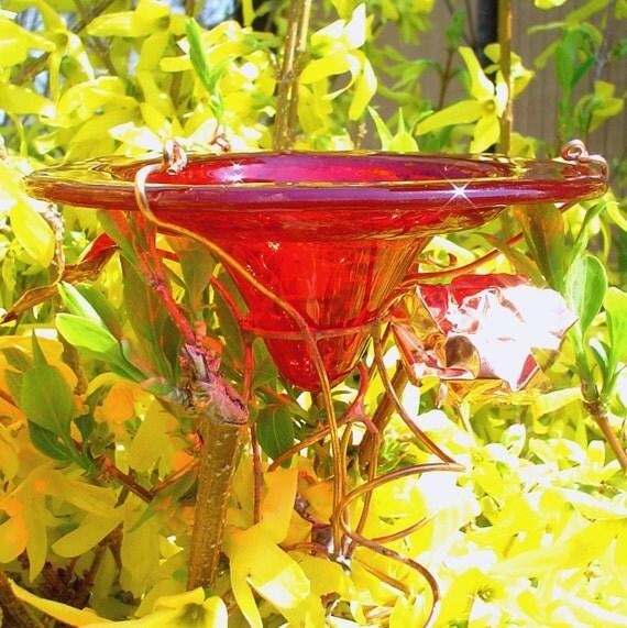 Garden Quote, BUTTERFLY FEEDER. Suncatcher, glass, copper, Red, 18K gold, garden stake