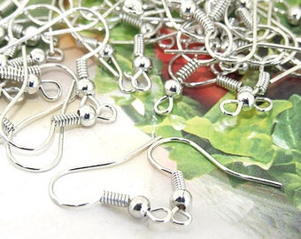 Earring Hooks  Bronze Luster Plated Silver Filigree Metal 18mm---100pieces