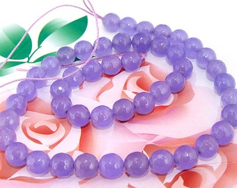 Loose Gemstone Round Faceted Lavender Jade 8mm gemstone  bead full one strand 15""