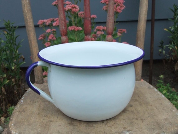 White Chamber Pot  Enamelware White and Blue Potty