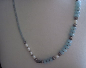 Necklace or bracelet long aquamarine and pearls blue shell and opal sterling silver clasp