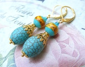 Dangle drop beadwork earrings golden summer turquoise  blue magnesite sun sea boho vintage  Mother's day gift sale