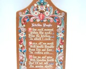 Vintage 1962 Berggren Trayner Signed Decorative Kitchen Prayer Plaque Sweden