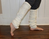 Long Ivory Knit Up Cycled Leg Warmers