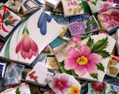 FREE SHIPPING 208 Mixed Lot Grab Bag w Many Different Styles of Mosaic Tiles Tesserae Handmade Cut Nipped Dinnerware Dishes Flowered Mosaics