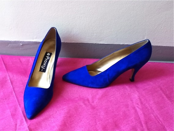 RESERVED for Anne McQuarrie -AMAZinG 1980s COBALT Blue Suede  PROXY HeeLs - size 10 narrow