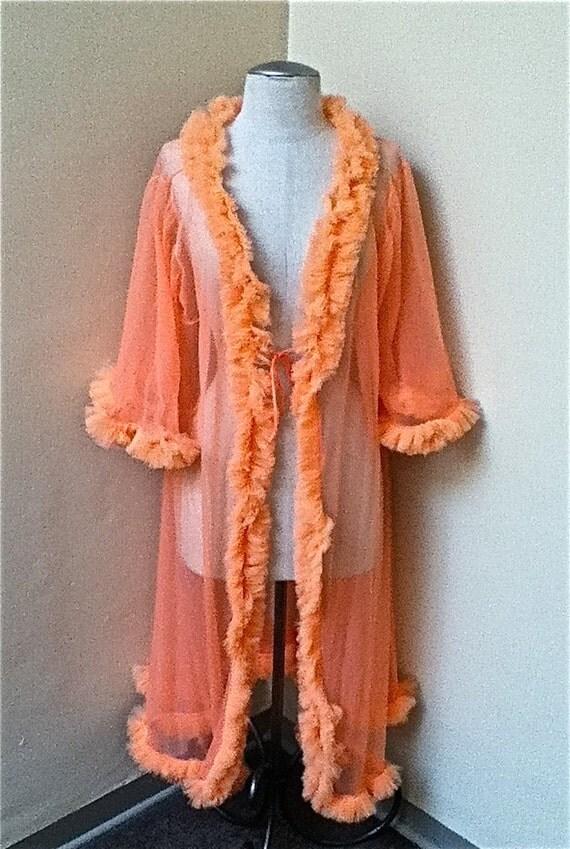 RESERVED for LISA MATHIS - Lovely and Feminine Pale Orange Chiffon Ruffled 1960's Peignoir