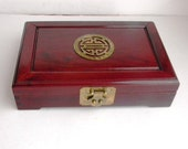 Mid Century Hollywood Chinoiserie Jewelry Box - Vintage Oriental Solid Rose Wood Jewelry Box