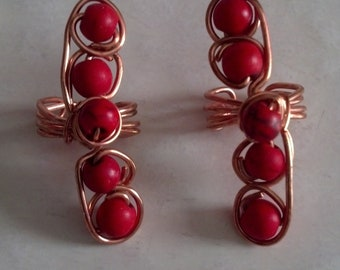 Copper and red turquoise ear cuff set