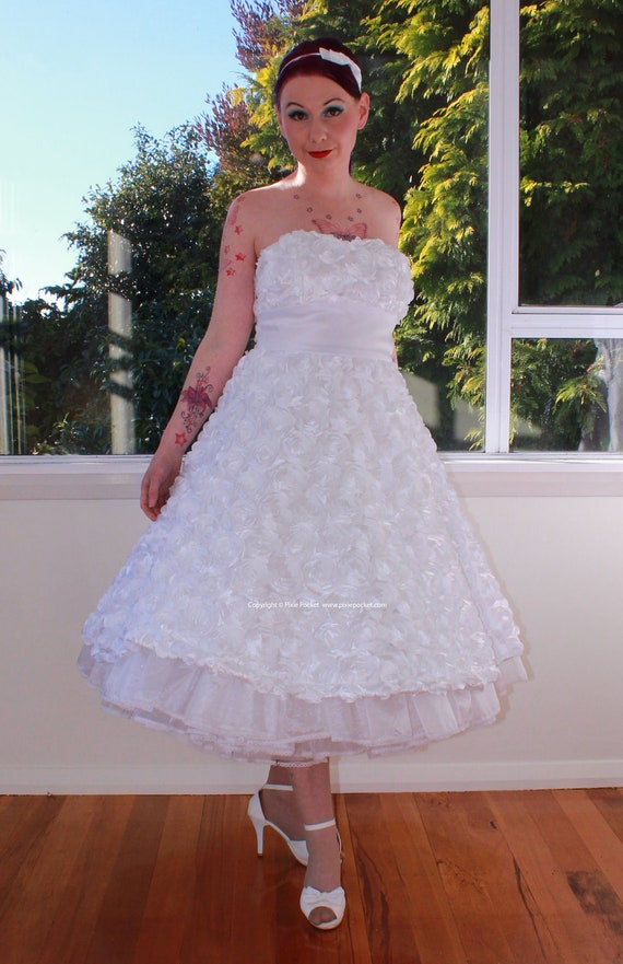 1950's 'Mirabel' Style White Rosette Flower Wedding Dress with Sweetheart Neckline, Tea Length Skirt and Petticoat - Custom made to fit