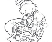 Printable Coloring Page Girl 5Years with Bear Tea Time