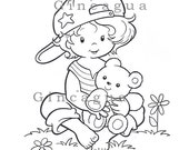 Printable Coloring Page Boy with Teddy Bear