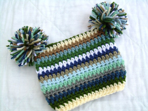 Crochet Green Blue Baby Hat Beanie, Land and Sea, Blues and Greens, 0 to 6 months, READY TO SHIP