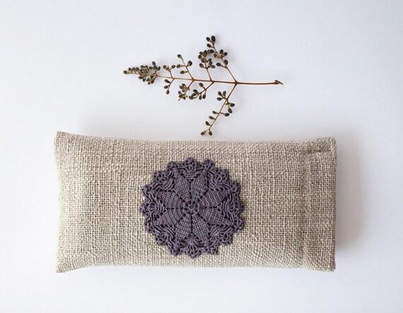 SALE Beautiful rustic eyeglasses case Crochet lace decor Monochrome Natural neutral colors
