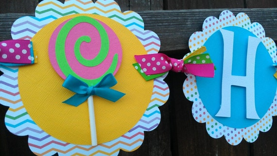 Sweet Treats Happy Birthday OR Name banner in bright colors, Candy, lollipop and/or Cupcake theme.