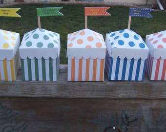 Circus Tent Favor Boxes in Crayon Colors  Set of 10
