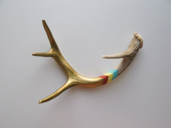 Gold, Orange, Yellow & Aqua Chevron Painted Antler - Small/Medium