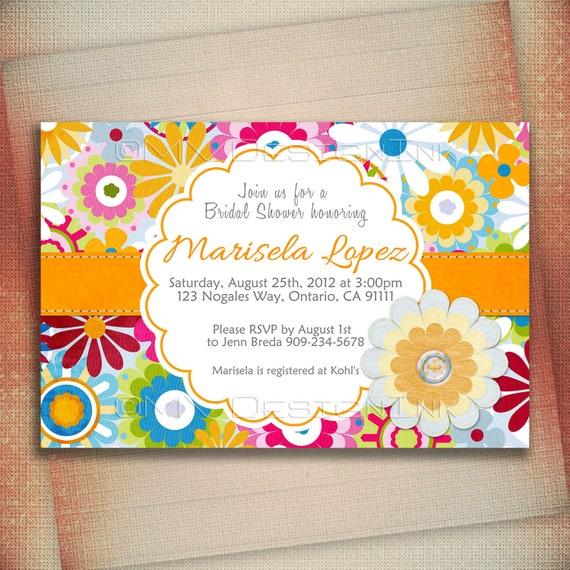 Bridal Shower Invitation, Multicolored Flowers Bridal Shower Invite, Orange or Pink Flowers Bridal Shower Invite-Digital File You Print