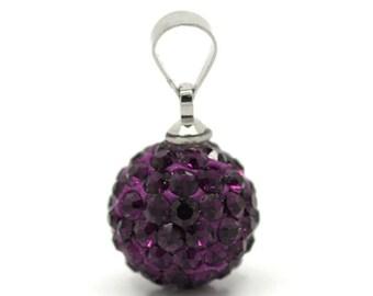 Clearance Dark Purple Pave Rhinestone Ball Pendant