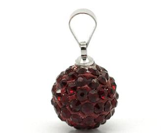 Clearance Dark Red Pave Rhinestone Ball Pendant
