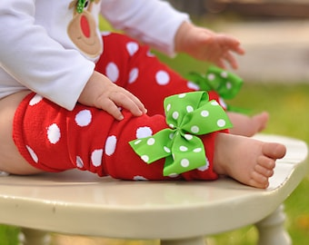 Christmas Bow Leg Warmers - Bows for Her Toes - red and white polka dots with apple green bows