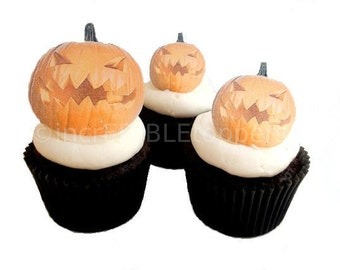 Halloween Decorations for Cakes and Cupcakes - Edible Jack-O-Lanterns, Cupcake Toppers Decorations