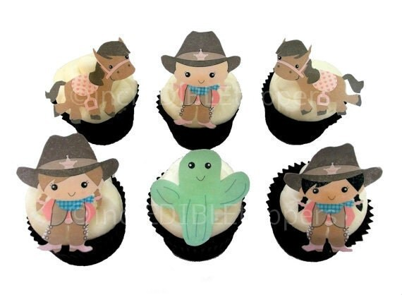 12 EDIBLE COWGIRL Cupcake Toppers - Theme Birthday Party Decorations