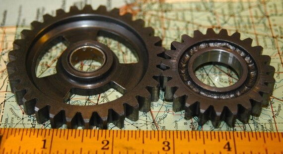 2 Large Gears SteamPunk Altered Art Industrial