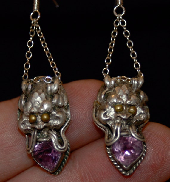 Sterling Silver Upcycled Alexandrite Earrings from the 1960s/ Chinese Dragon Heads